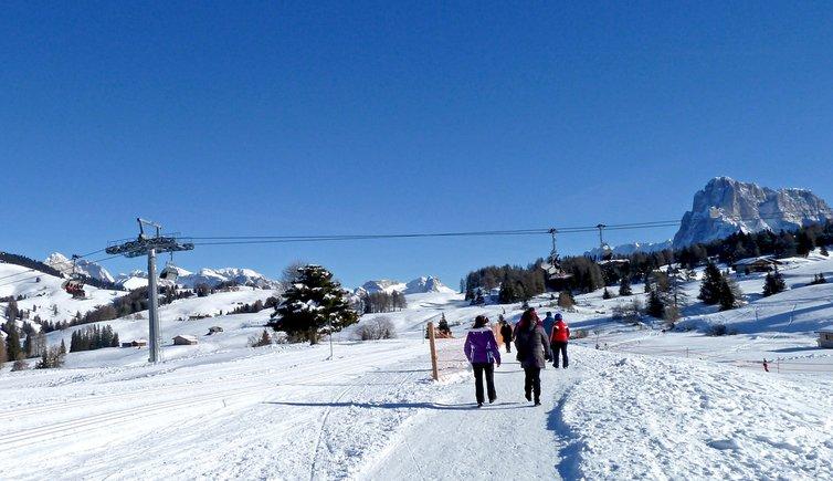 Über 60 Kilometer gespurte Winterwanderwege führen zu den schönsten Aussichtspunkten der gesamten Ferienregion Seiser Alm.